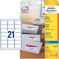 AVERY White Adressing Labels For Inkjet 63.5x38.1mm 21 Labels/ Sheets **25-pack** (J8160-25)