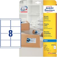 White Parcelling Labels For Inkjet 99.1x67.7mm 8 Labels/ Sheets **25-pack**