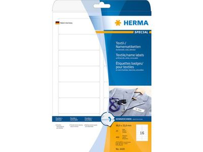 HERMA Self-adhesive labels HERMA super print, 25 sheets, 400 labels, 88.9mm x 33.8mm, textile, 4420 (4420)