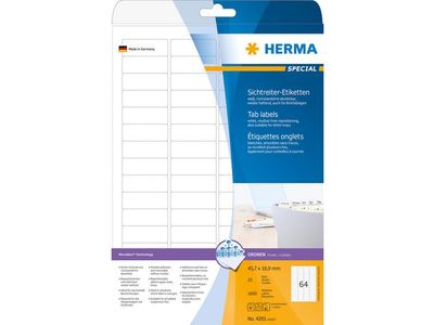 HERMA super print, label size, 45,7 x 16,9 mm, 25 sheets, 1600 labels, white (25) (4201)