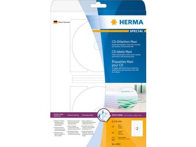 HERMA Etikett HERMA CD vit matt Ø116mm (50) (4850)