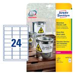 AVERY Weatherproof Labels For Laser 63.5x33.9mm 24 Labels/ Sheets **20-pack** (L4773-20)