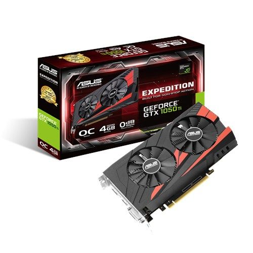 ASUS GeForce GTX 1050 Ti 4GB Expedition Skjermkort,  PCI-Express 3.0, GDDR5, OC, 1341/ 1455MHz,  Pascal (EX-GTX1050TI-O4G)