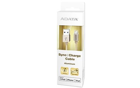 A-DATA ADATA Sync and Charge Lightning Cable, USB, MFi (iPhone, iPad, iPod), Gold (AMFIAL-100CMK-CGD)