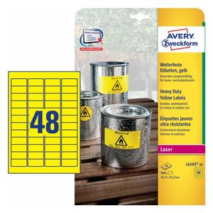 AVERY Heavy Duty Labels Yellow 45,7x21,2 mm (L6103-20)