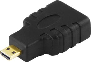 DELTACO HDMI High Speed with Ethernet adapter, Micro HDMI ha - HDMI ho (HDMI-24)
