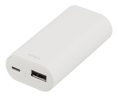 Power bank, portabelt batteri, 4000mAh, USB 5V 1A, vit