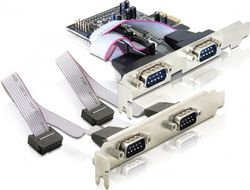 DELOCK PCI-Express x1 kort, Seriell RS-232, 4xDB9ha (89178)