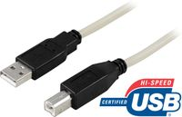 DELTACO CABLE USB 2.0 KABEL TYP A HANE TYP B HANE  2M  BEIGE NS (USB-218)