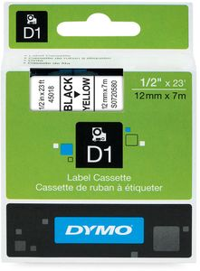 DYMO D1 12mm, Sort/Gul (S0720580)