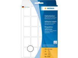 HERMA multi-purpose labels, white, 22 x 32 mm., white,  (Pack of 640 labels) (2430)