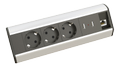 KONDATOR Desk, powerstrip with 3xCEE 7/4 outlets,  2xUSB, alu/black