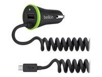 BELKIN Car Charger 3_4A with USB port _ integrated coiled micro USB Cable/ Black (F8M890BT04-BLK)