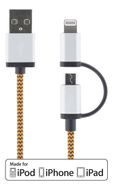DELTACO Synk- laddkabel USB - Lightning/ USB micro_ 1m_ orange (IPLH-241)