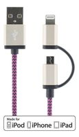 Synk- laddkabel USB - Light/USB micro_ 2m_ lila