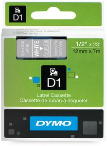 DYMO D1 12mm Tape Clear/ White (S0720600)