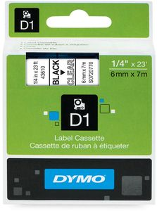 DYMO D1 6mm  Sort/Klar (S0720770)