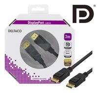 DELTACO DisplayPort monitorkabel,  20-pin ha - ha 3 m (DP-1030-K)