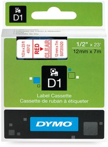 DYMO D1 Tape / 12mm x 7m / Red Text / Transparent Tape (S0720520)
