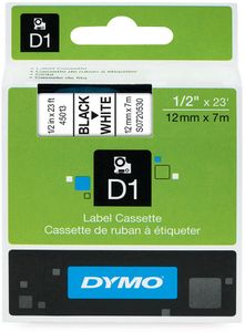DYMO D1 12mm  Sort/Hvit (S0720530)