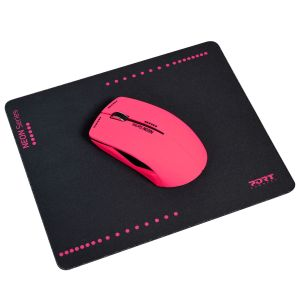 PORT DESIGNS Wireless MOUSE - NEON FUSHIA+mouse pad (900504)