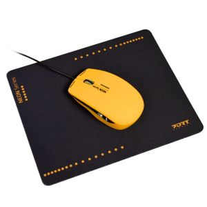 PORT DESIGNS Wired MOUSE - NEON ORANGE+mouse pad (900535)