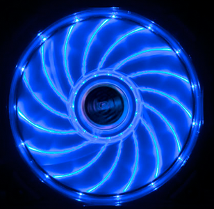 AKASA 12cm Vegas 15 Blue LED fan antivibe damp pads, sleeve bearing (AK-FN091-BL)
