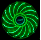 AKASA 12cm Vegas 15 Green LED fan antivibe damp pads, sleeve bearing