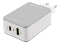DELTACO USB Charger with USB C+QC3 White/ grey