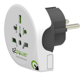 Q2Power Travel Adapter Grounded 10A World - EU (Schuko) White