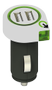 Q2Power dual USB car charger, 2.1 A (shared), 2xUSB port, white/ black