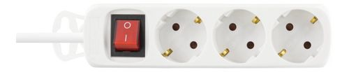 DELTACO power outlet/ switch,  3xCEE 7/4, 1xCEE 7/7, 1,5m cable, white (GT-116B)