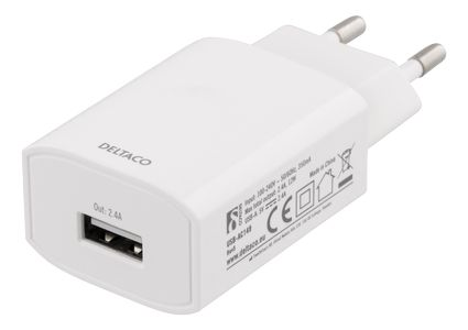 DELTACO Wall Charger, 100-240V, 5V 2,4A, 1xUSB-A, retailpack,  white (USB-AC149)