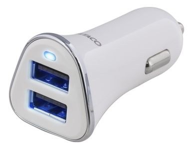 DELTACO 2 Port USB 3,4A Vit (USB-CAR101)
