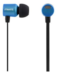 STREETZ stereo headset, in-ear, mic with volume, blue (HL-586)