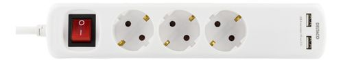 DELTACO power strip, switch, 3xCEE 7/4, 1xCEE 7/7, 5m, 2xUSB-A, white (GT-161D)