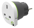 Q2Power earthed travel adapter, UK to EU, 16A, white