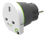 Q2Power jordad reseadapter,  UK till EU, 16A, vit