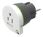 Q2Power earthed travel adapter, US to EU, 16A, white