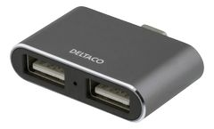 DELTACO USBC HUB 2 Port Space Grey