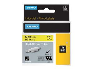 DYMO RHINOPRO 1/2IN YLW HEAT SHRINK TUBES (18056)
