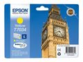 EPSON T7034 ink cartridge yellow standard capacity 9.6ml 800 pages 1-pack blister without alarm