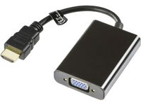 DELTACO HDMI till VGA-adapter,  19-pin ha - 15-pin+3, 5mm,  0,2m, svart