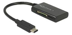 DELOCK USB 3.1 Gen 1 Card Reader, USB-C male, 4 Slots, black