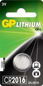 GP LITHIUM BUTTON CELL CR2016 (CR2016 1-P $DEL)