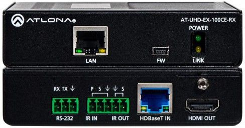 ATLONA HDBT Receiver AT-UHD-EX-100CE-RX 4K/UHD, 100M, Ethernet, Control and PoE (AT-UHD-EX-100CE-RX)