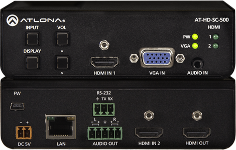 ATLONA AutoSwicht/ Scaler 2 x HDMI & VGA Bal.Audio, volume,  TCP/IP & RS232 control (AT-HD-SC-500)