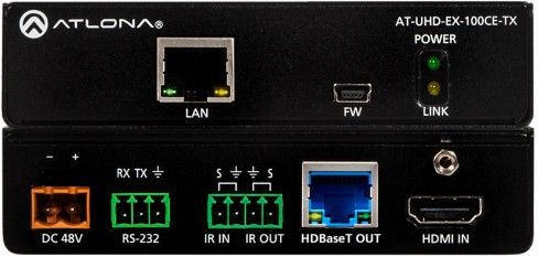 ATLONA HDBT transmitter AT-UHD-EX-100CE 4K/UHD, 100M, Eternet Control and PoE (AT-UHD-EX-100CE-TX)