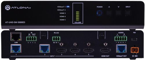 Atlona 4K/UHD, 5-Input HDM / HDBaseT Switcher with Mirrored HDMI / HDBaseT Outputs (AT-UHD-SW-5000ED)