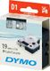 DYMO D1 Tape / 19mm x 7m / White Text / Clear Tape